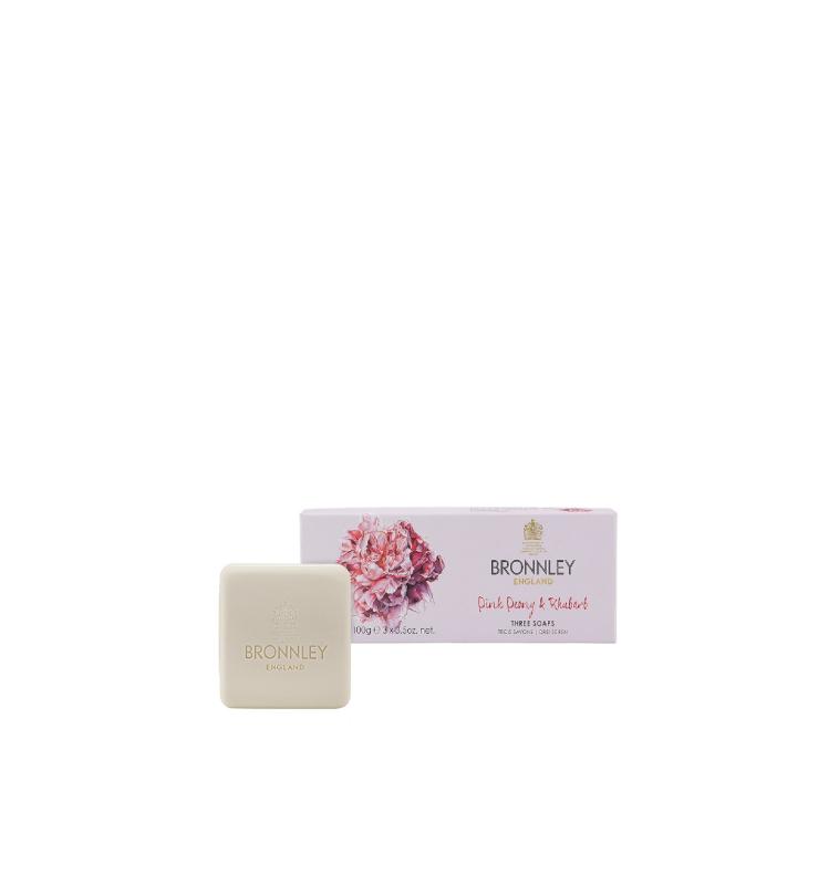 Bronnley | Sapone solido alla peonia rosa e rabarbaro , 100 g x 3